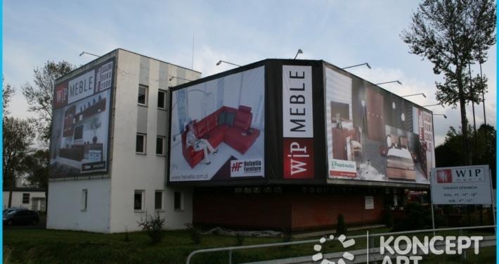 baner xxxl na budynku drukarnia wielkoformatowa nowy sącz bnery